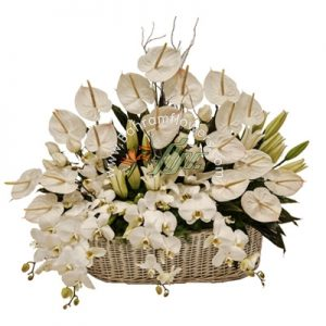 سبد گل سفید سایز بزرگ