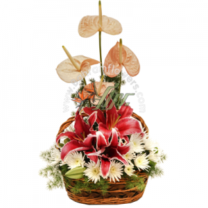 سبد گل رنگی سایز کوچک